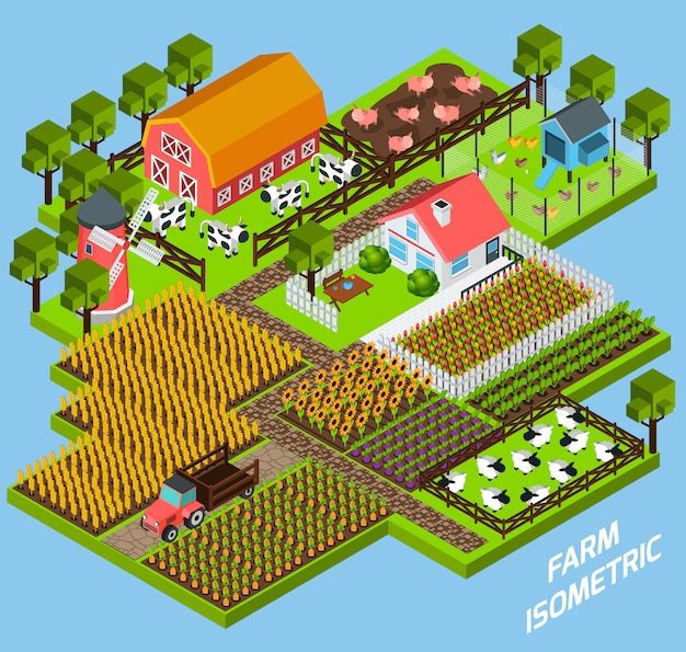 Farm complex isometric blocks composition Free Vector
