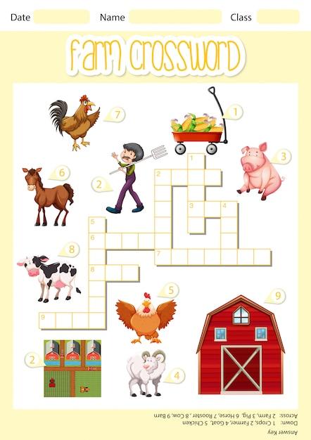 A farm crossword sheet Premium Vector