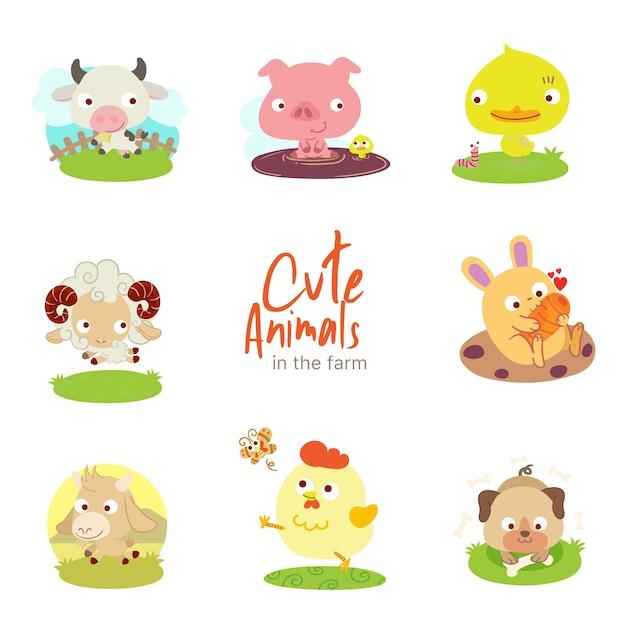 Farm cute animals Premium Vector