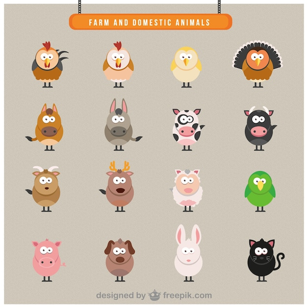 Farm Domestic Animals Icons Vector