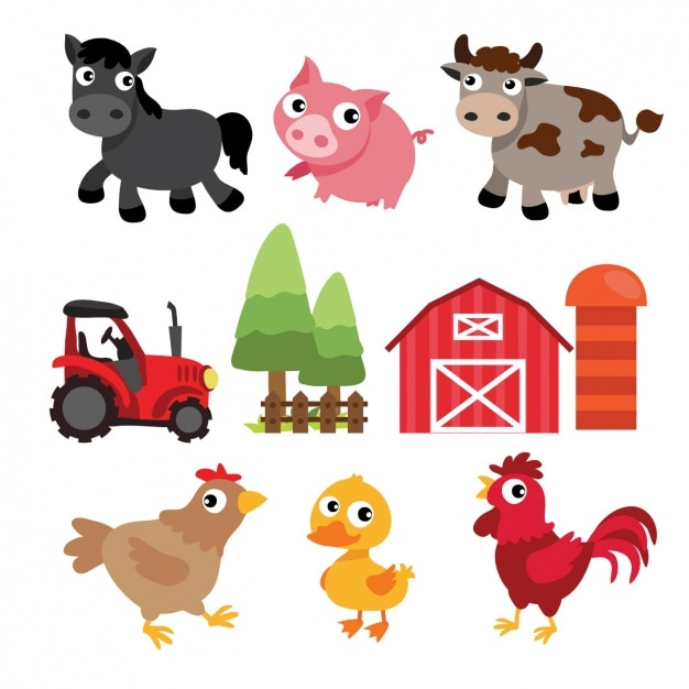 Farm elements design Free Vector