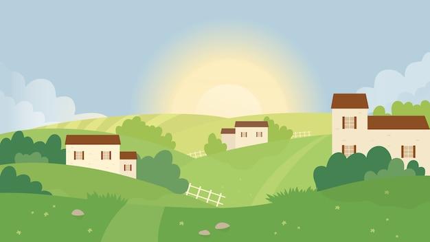 Поле фермы, летняя природа пейзаж векторные иллюстрации. Premium векторы