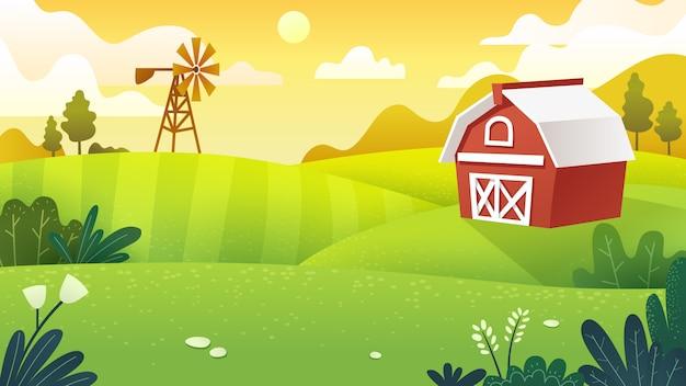 Farm fields in minimal and flat art work style Premium Vector