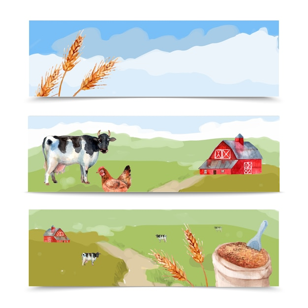 Farm and fields watercolor horizontal banners set with cows wheat and house Free Vector