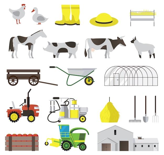 가축과 농업 도구 격리 설정 팜 플랫 아이콘 무료 벡터