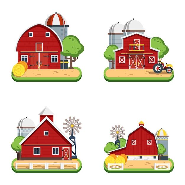 Farm flat isolated decorative icons Free Vector