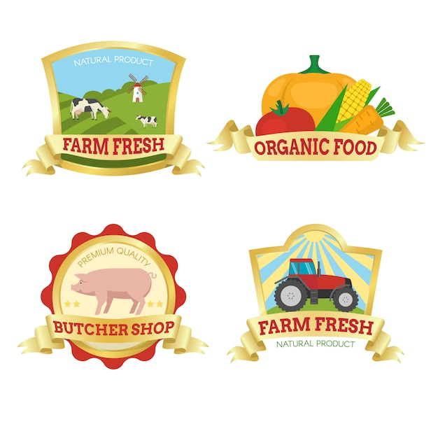 Farm food colorful emblems Free Vector