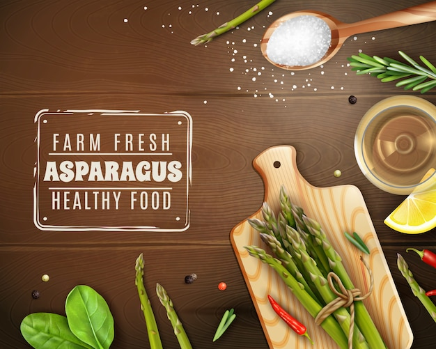 まな板、バジル、唐辛子と新鮮な農場のアスパラガス 無料ベクター