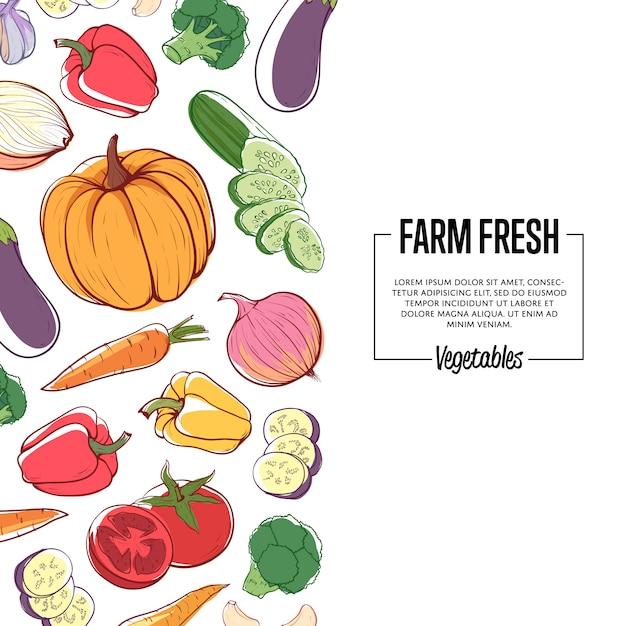Ферма свежее знамя со спелыми овощами Premium векторы