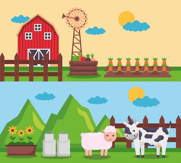 Farm fresh cartoon Free Vector