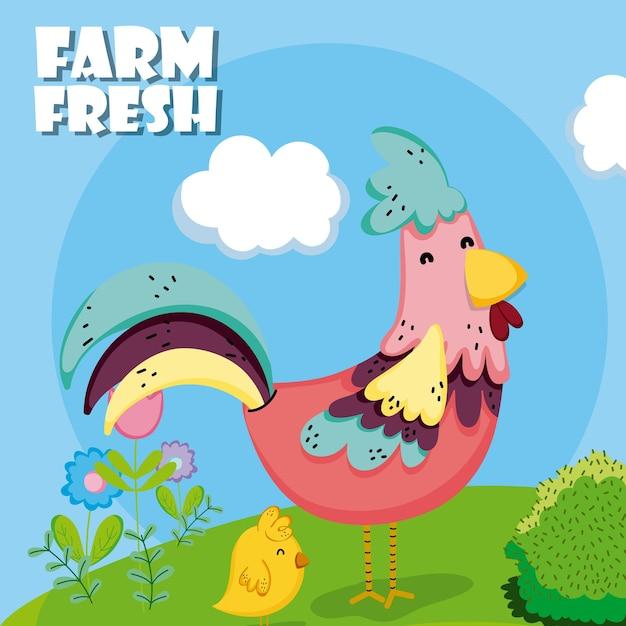 Farm fresh cartoons Premium Vector