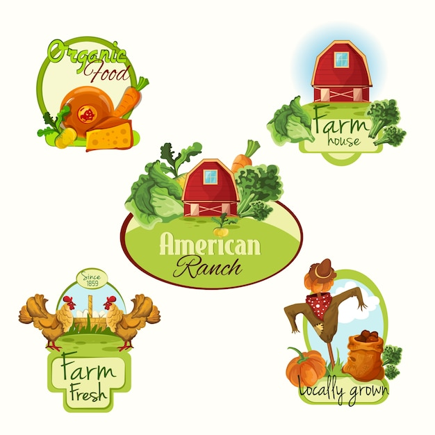 Farm fresh labels colored set Free Vector