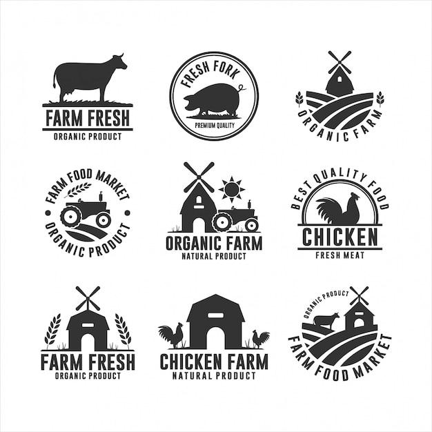 農場の新鮮な有機製品のロゴ Premiumベクター