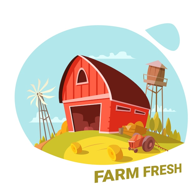 Farm and fresh organic products concept Free Vector