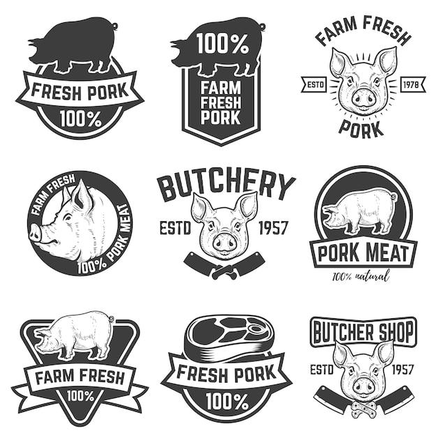 Farm fresh pork meat emblems.  elements for logo, label, sign.  illustration. Premium Vector