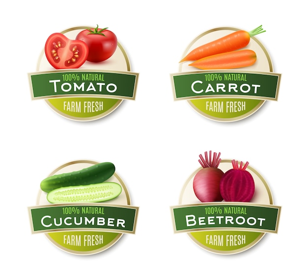 Farm fresh vegetables round labels collection Free Vector