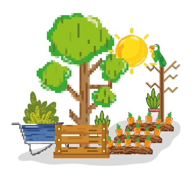 Farm harvest pixelated cartoons Premium Vector