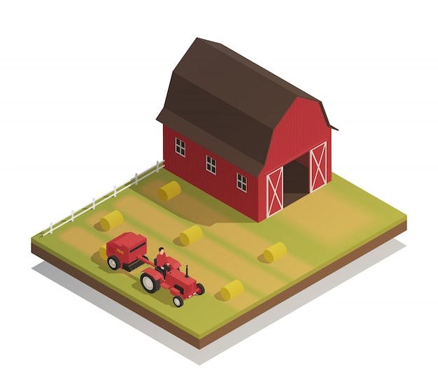 Farm hay harvesting isometric composition Free Vector