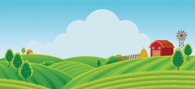 Farm on hill with green field background, agriculture, cultivate, countryside, field, rural Premium Vector