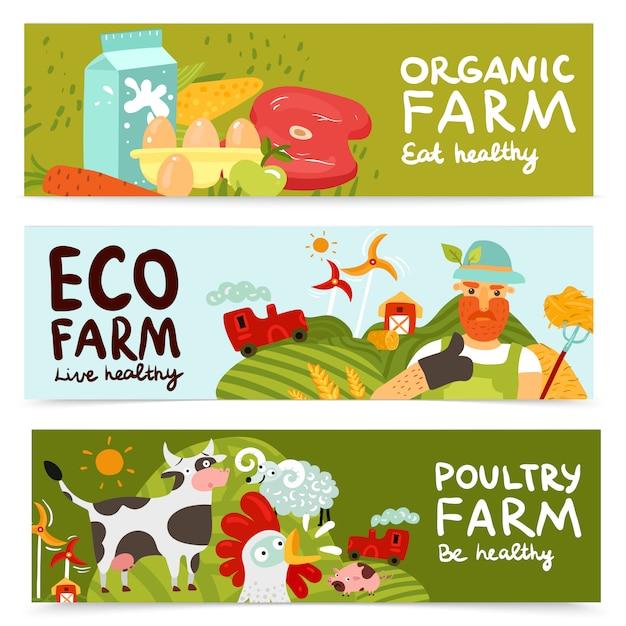 Farm horizontal banners Free Vector