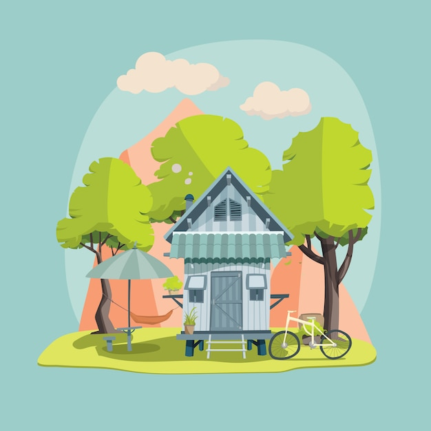 Farm house 4 Premium Vector