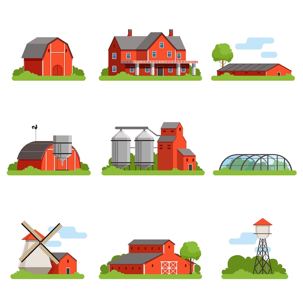 Farm house and constructions set, agriculture industry and countryside buildings  illustrations Premium Vector