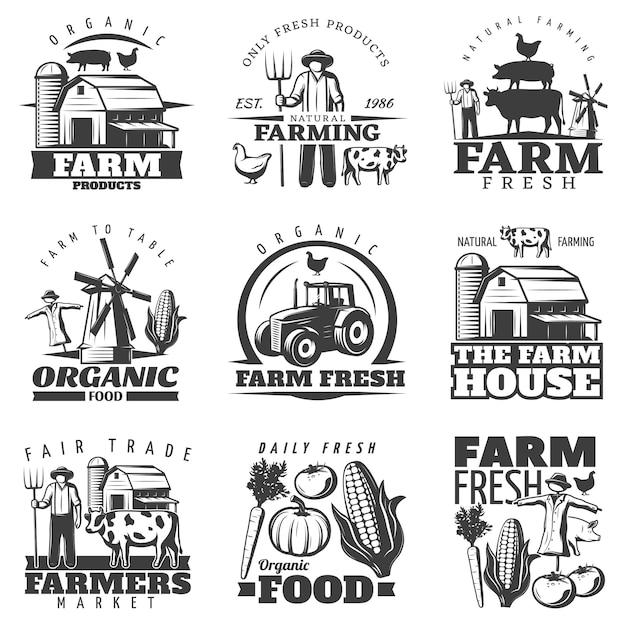 Farm house emblems set Free Vector