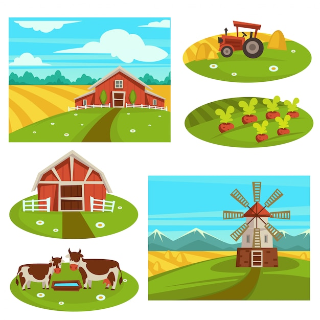 Farm household or farmer agriculture vector flat farming field and cattle pasture Premium Vector
