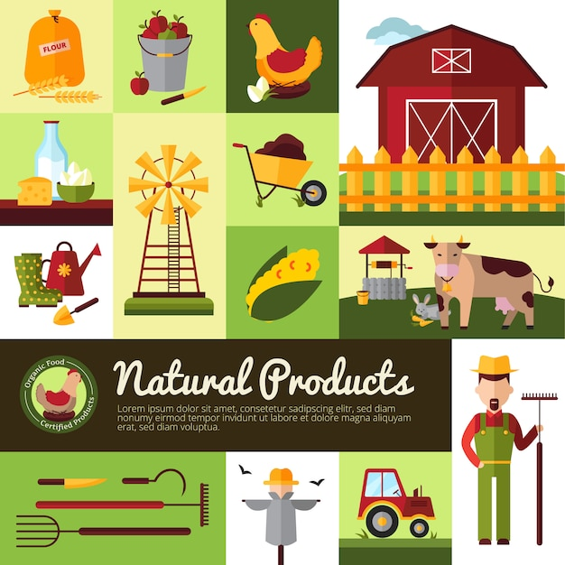 Farm household for natural organic food production Free Vector