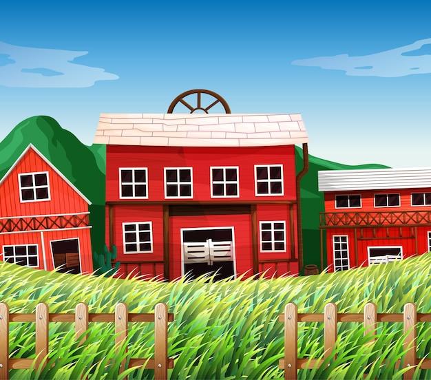 Farm houses with barns scene Free Vector