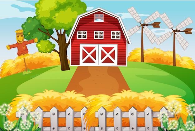 納屋と風車とかかしのある自然の中での農場 無料ベクター