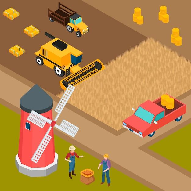 Farm isometric background Free Vector