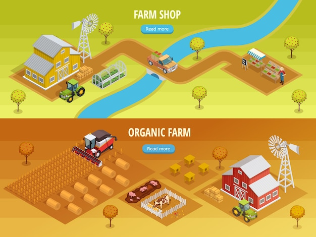 Farm isometric horizontal banners Free Vector