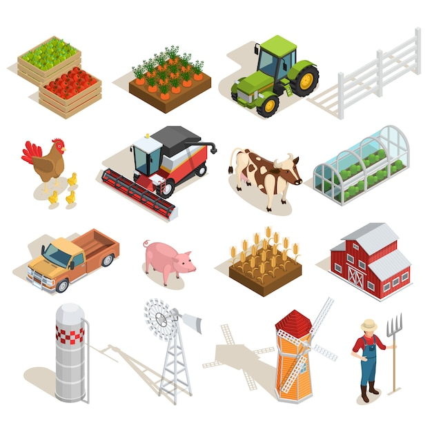 Farm isometric icons collection Free Vector