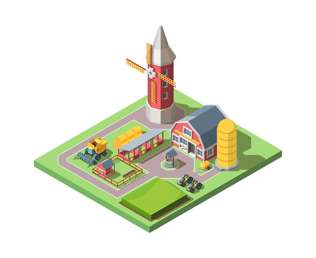 Farm isometric illustration. modern farming system large mill tractor and combine well animal pens haystacks and silo concept progressive agricultural land tenure. Premium Vector