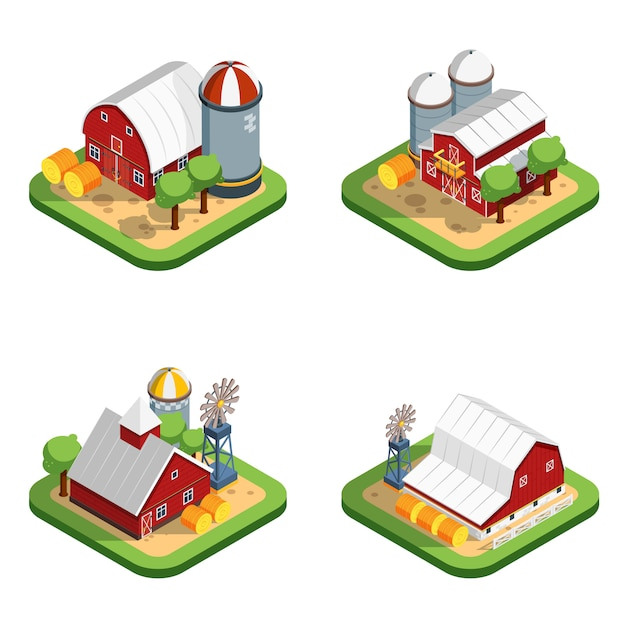 Farm isometric isolated compositions Free Vector