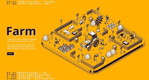Pagina di destinazione isometrica dell'azienda agricola con agricoltori che lavorano in giardino o in campo, le persone usano macchinari per trattori, alimentano maiali o mucche, raccolgono. villaggio agricolo, zootecnia 3d line art web banner Vettore gratuito