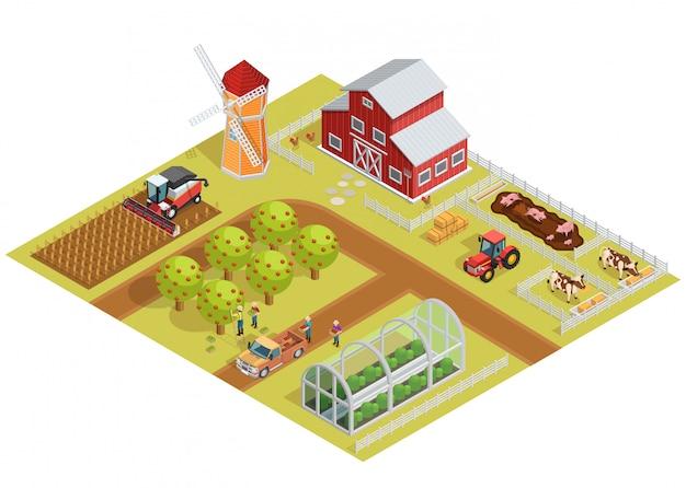 Farm isometric template Free Vector