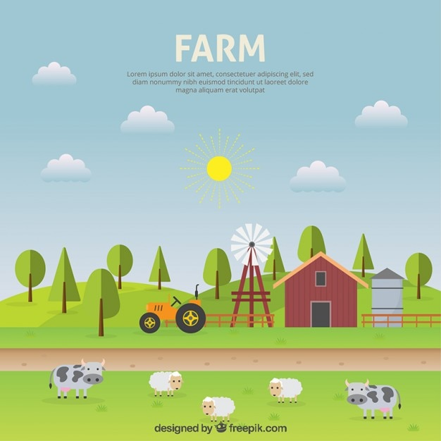 Farm Landscape Flat Design Vector Free Download: blueprint designer free