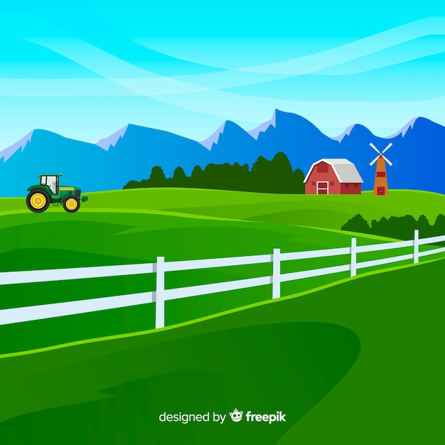 Farm landscape in flat style Free Vector