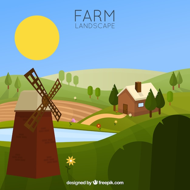Farm Landscape With A Mill Free Vector