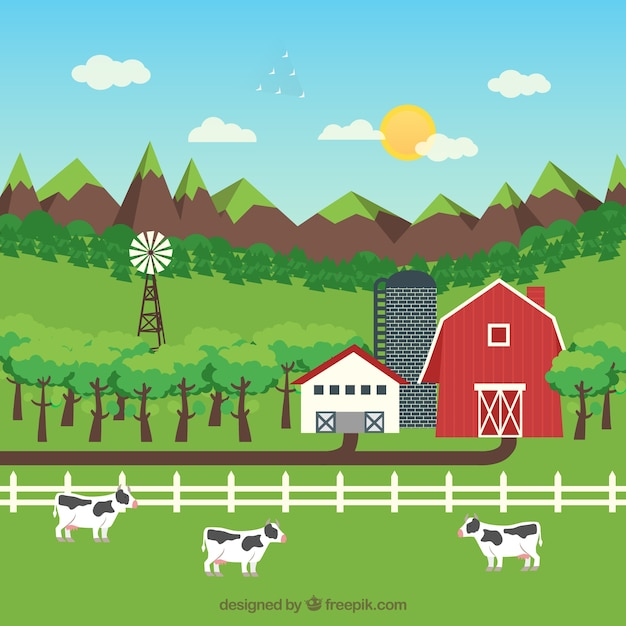 Captivating Farm Landscape With Cattle Free Vector