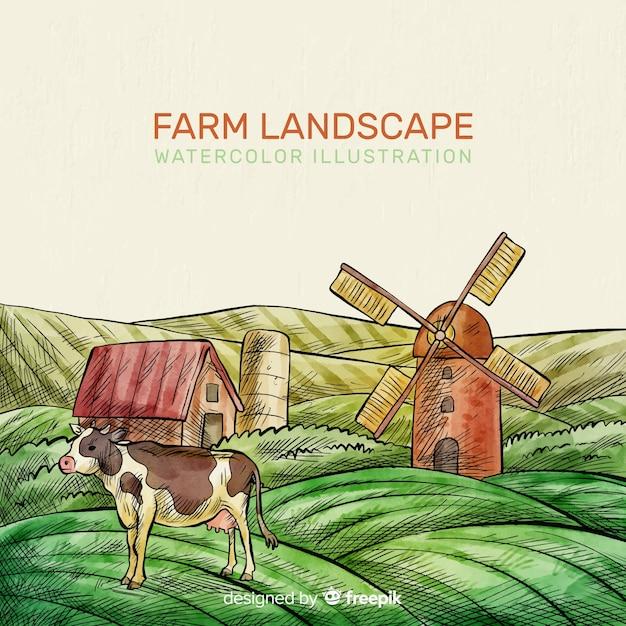 Farm landscape Free Vector
