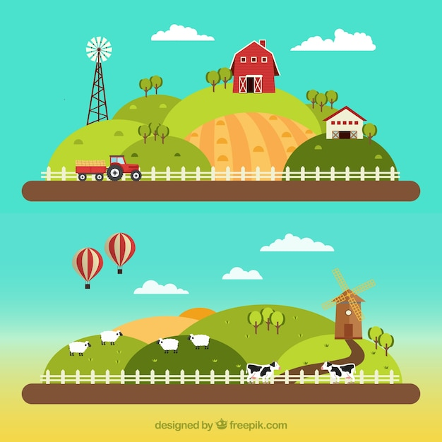 Farm landscapes in flat design Vector | Free Download