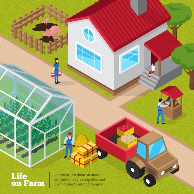 Farm life daily activities poster with farmyard facilities greenhouse plants and unloading tractor worker Free Vector