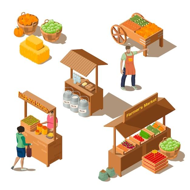 Фермерский местный рынок с овощами в изометрическом стиле Бесплатные векторы