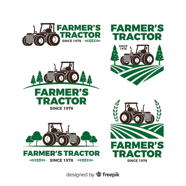 Farm logo collectio Free Vector
