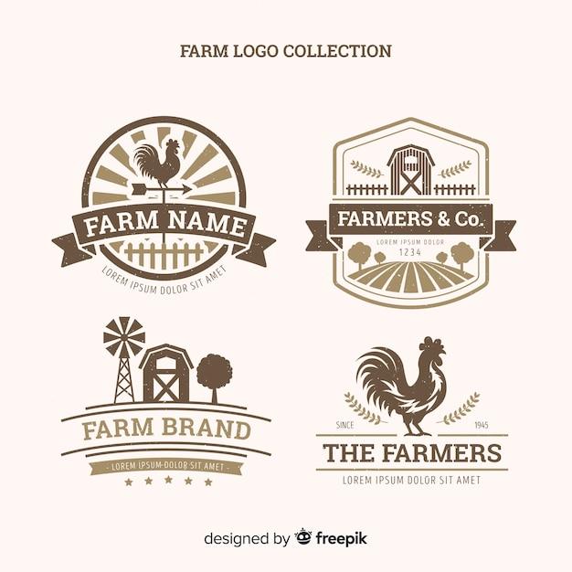 Farm logo collectio Free Vector