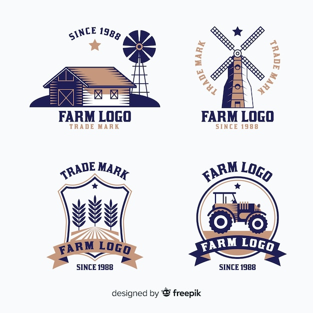 Farm logo collection in flat style Free Vector