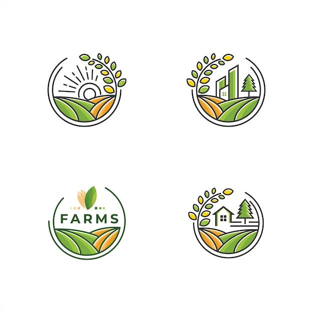 Farm logo collection Premium Vector